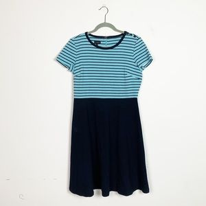 🍩Talbots Striped Fit and Flare Dress Medium Blue